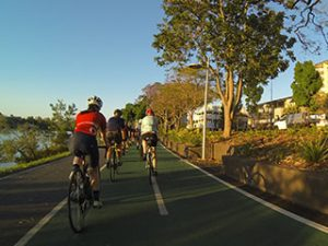 women cycling on bikeway at Regatta in Toowong